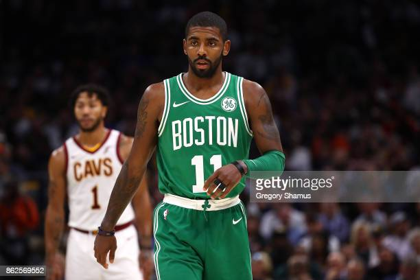 Kyrie Irving of the Boston Celtics looks on while playing the Cleveland Cavaliers during the first half at Quicken Loans Arena on October 17 2017 in...