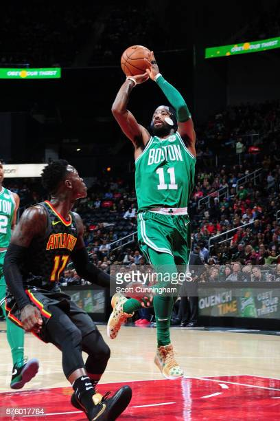Kyrie Irving of the Boston Celtics passes the ball against the Atlanta Hawks on November 18 2017 at Philips Arena in Atlanta Georgia NOTE TO USER...