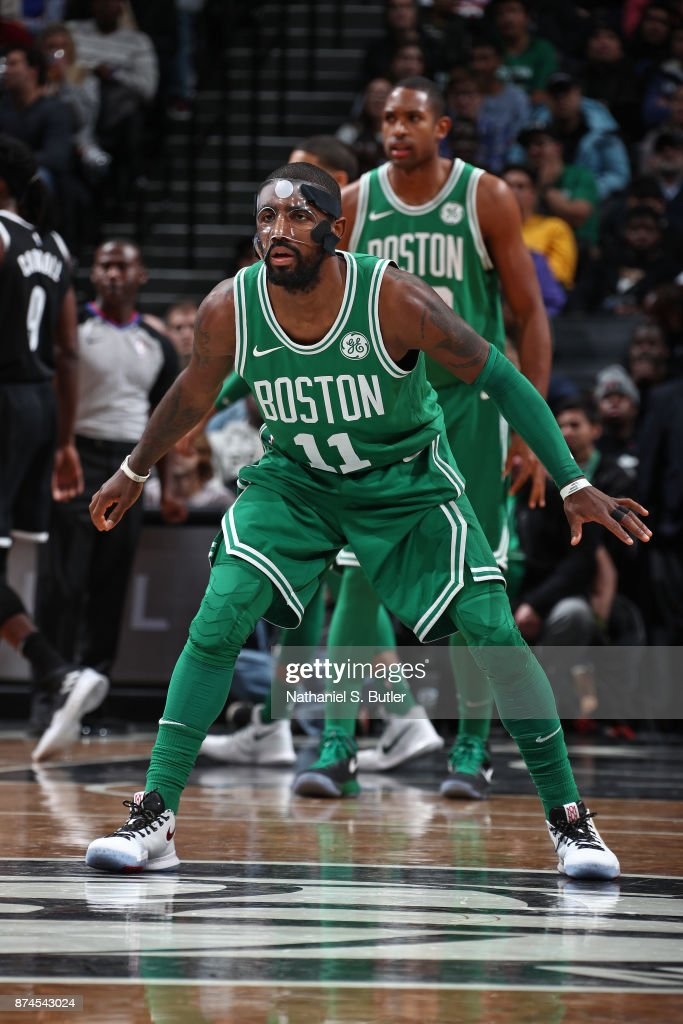 Kyrie Irving #11 of the Boston Celtics plays defense against the Brooklyn Nets on November 14, 2017 at Barclays Center in Brooklyn, New York.