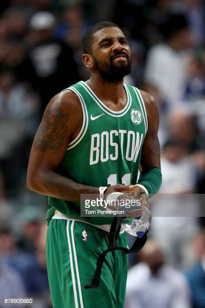 Kyrie Irving of the Boston Celtics reacts against the Dallas Mavericks at American Airlines Center on November 20 2017 in Dallas Texas NOTE TO USER...