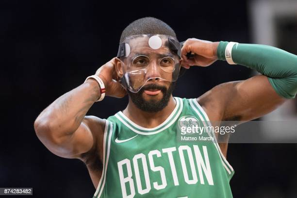 Kyrie Irving of the Boston Celtics reacts during the first half of the NBA game against the Brooklyn Nets at Barclays Center on November 14 2017 in...