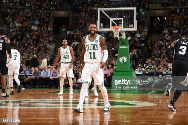 Kyrie Irving of the Boston Celtics reacts during the game against the San Antonio Spurs against the San Antonio Spurs on October 30 2017 at the TD...