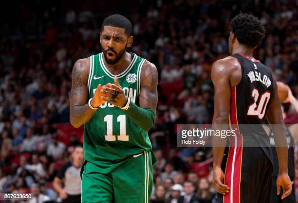 Kyrie Irving of the Boston Celtics reacts during the second half of the game against the Miami Heat at the American Airlines Arena on October 28 2017...