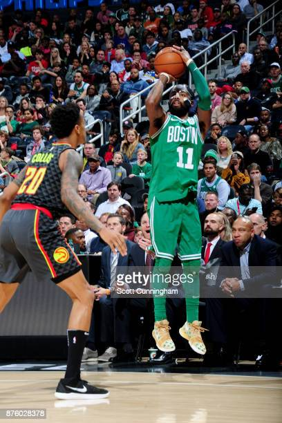 Kyrie Irving of the Boston Celtics sag against the Atlanta Hawks on November 18 2017 at Philips Arena in Atlanta Georgia NOTE TO USER User expressly...