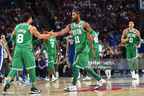 Kyrie Irving of the Boston Celtics shake hands during the game against the Philadelphia 76ers on October 20 2017 at Wells Fargo Center in...