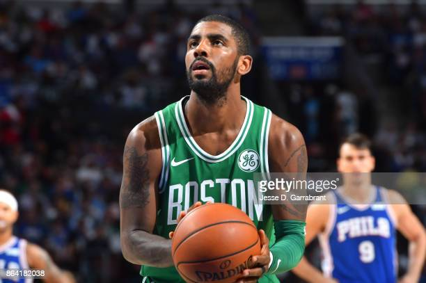 Kyrie Irving of the Boston Celtics shoots a free throw against the Philadelphia 76ers during the game on October 20 2017 at Wells Fargo Center in...
