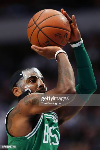 Kyrie Irving of the Boston Celtics shoots a free throw against the Dallas Mavericks at American Airlines Center on November 20 2017 in Dallas Texas...