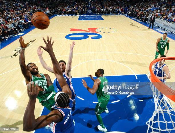 Kyrie Irving of the Boston Celtics shoots the ball against the Philadelphia 76ers during the game on October 20 2017 at Wells Fargo Center in...