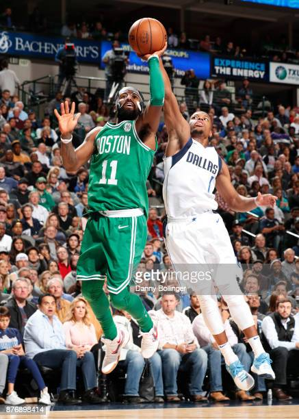 Kyrie Irving of the Boston Celtics shoots the ball during the game against the Dallas Mavericks on November 20 2017 at the American Airlines Center...