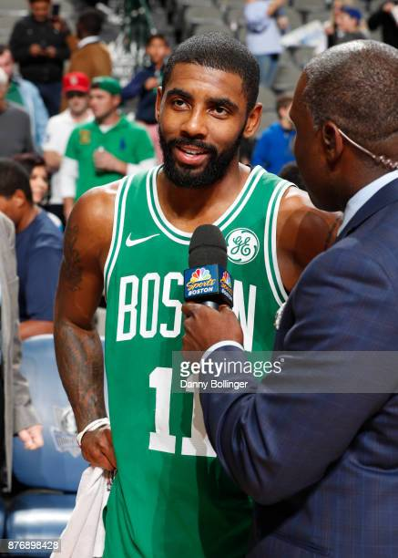 Kyrie Irving of the Boston Celtics talks with the media after the game against the Dallas Mavericks on November 20 2017 at the American Airlines...