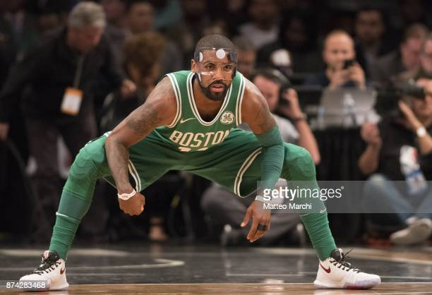 Kyrie Irving of the Boston Celtics warms up before the NBA game against the Brooklyn Nets at Barclays Center on November 14 2017 in the Brooklyn...