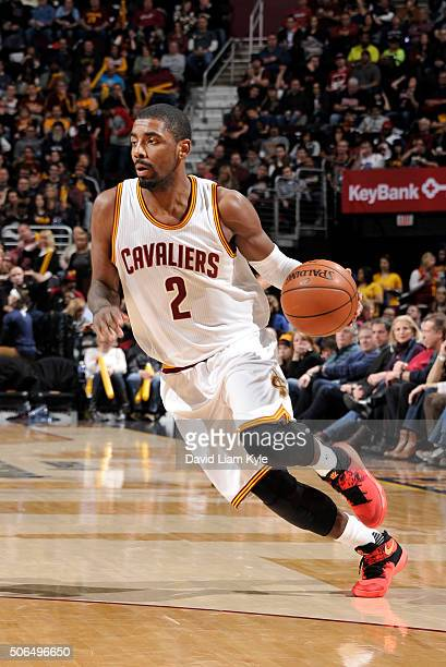 Kyrie Irving of the Cavaliers drives to the hoop against the Chicago Bulls during the game at The Quicken Loans Arena on January 23 2016 in Cleveland...