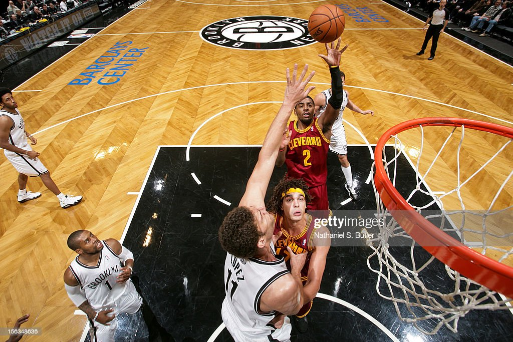 Kyrie Irving #2 of the Cleveland Cavalier shoots against Brook Lopez #11 of the Brooklyn Nets on November 13, 2012 at the Barclays Center in the Brooklyn Borough of New York City.