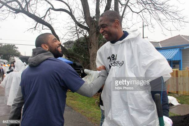 Kyrie Irving of the Cleveland Cavaliers and Dikembe Mutombo participates during the NBA Cares Day of Service as part of 2017 AllStar Weekend at the...