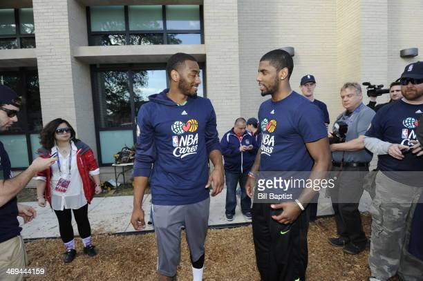 Kyrie Irving of the Cleveland Cavaliers and John Wall of the Washington Wizards talk during the NBA Cares AllStar Day of Service 'PLAY' with KaBOOM...