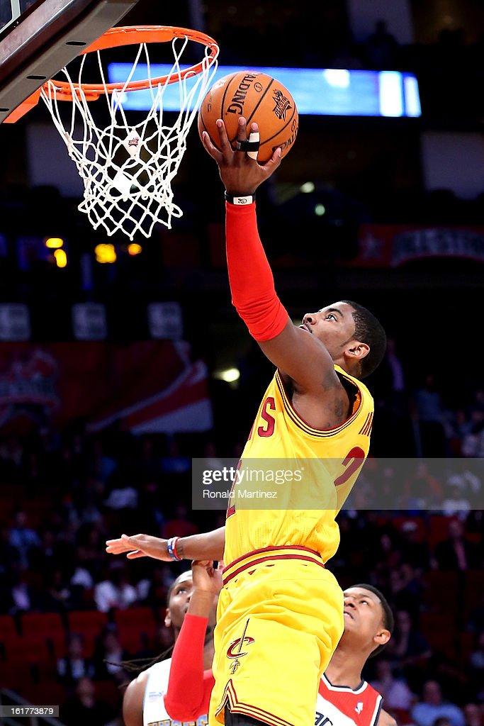 Kyrie Irving #2 of the Cleveland Cavaliers and Team Shaq lays the ball up in the first half in the BBVA Rising Stars Challenge 2013 part of the 2013 NBA All-Star Weekend at the Toyota Center on February 15, 2013 in Houston, Texas.
