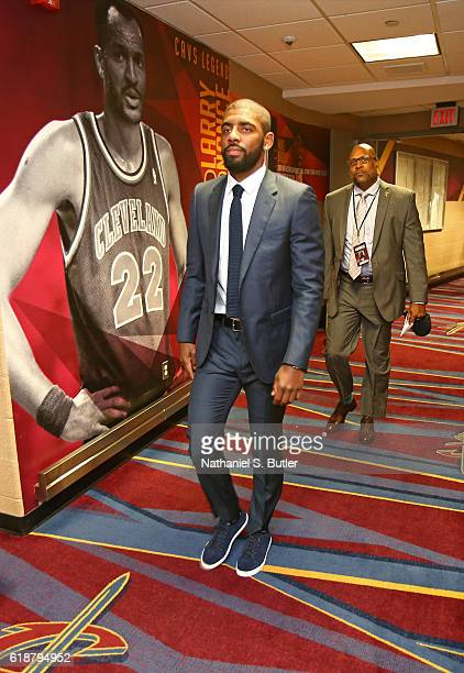 Kyrie Irving of the Cleveland Cavaliers arrives before the game against the New York Knicks on October 25 2016 at Quicken Loans Arena in Cleveland...