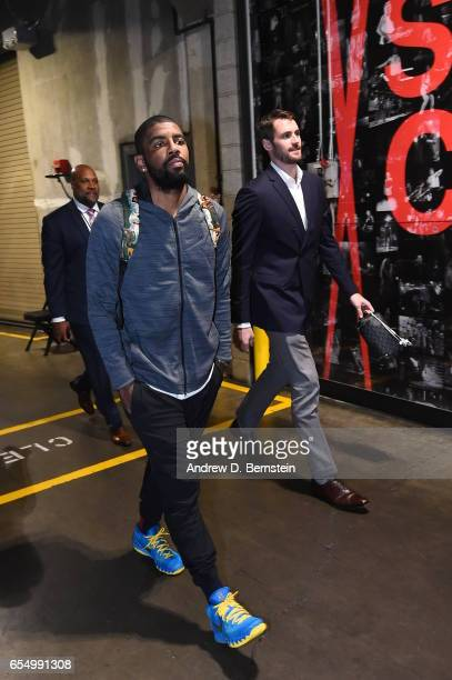 Kyrie Irving of the Cleveland Cavaliers arrives before the game against the LA Clippers on March 18 2017 at STAPLES Center in Los Angeles California...