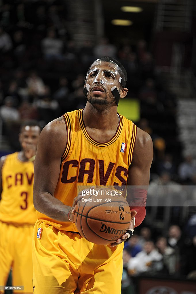 <a gi-track='captionPersonalityLinkClicked' href=/galleries/search?phrase=Kyrie+Irving&family=editorial&specificpeople=6893971 ng-click='$event.stopPropagation()'>Kyrie Irving</a> #2 of the Cleveland Cavaliers attempts a foul shot against the Boston Celtics at The Quicken Loans Arena on January 22, 2013 in Cleveland, Ohio.