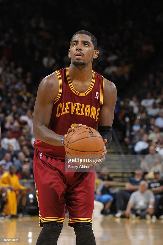 <a gi-track='captionPersonalityLinkClicked' href=/galleries/search?phrase=Kyrie+Irving&family=editorial&specificpeople=6893971 ng-click='$event.stopPropagation()'>Kyrie Irving</a> #2 of the Cleveland Cavaliers attempts a free throw shot against the Golden State Warriors on November 7, 2012 at Oracle Arena in Oakland, California.