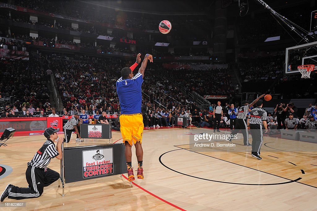 Kyrie Irving #2 of the Cleveland Cavaliers attempts a shot during the 2013 Foot Locker Three-Point Contest on State Farm All-Star Saturday Night as part of 2013 NBA All-Star Weekend on February 16, 2013 at Toyota Center in Houston, Texas.