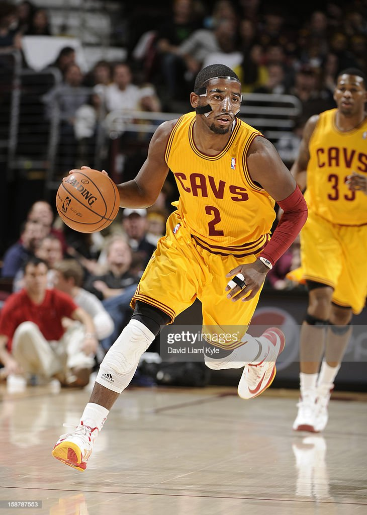 Kyrie Irving #2 of the Cleveland Cavaliers brings the ball up court against the Atlanta Hawks at The Quicken Loans Arena on December 28, 2012 in Cleveland, Ohio.