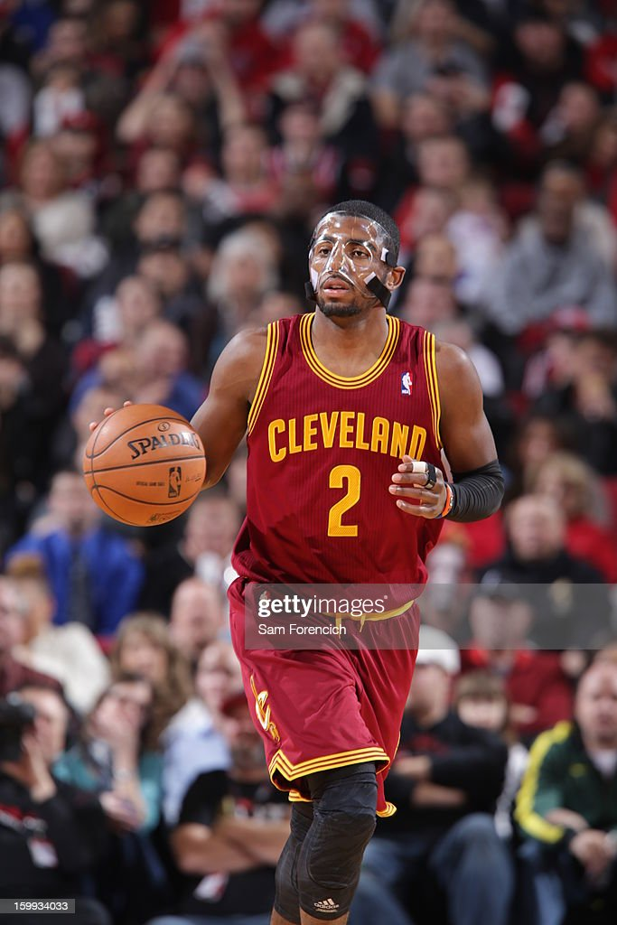 <a gi-track='captionPersonalityLinkClicked' href=/galleries/search?phrase=Kyrie+Irving&family=editorial&specificpeople=6893971 ng-click='$event.stopPropagation()'>Kyrie Irving</a> #2 of the Cleveland Cavaliers brings the ball up court against the Portland Trail Blazers on January 16, 2013 at the Rose Garden Arena in Portland, Oregon.