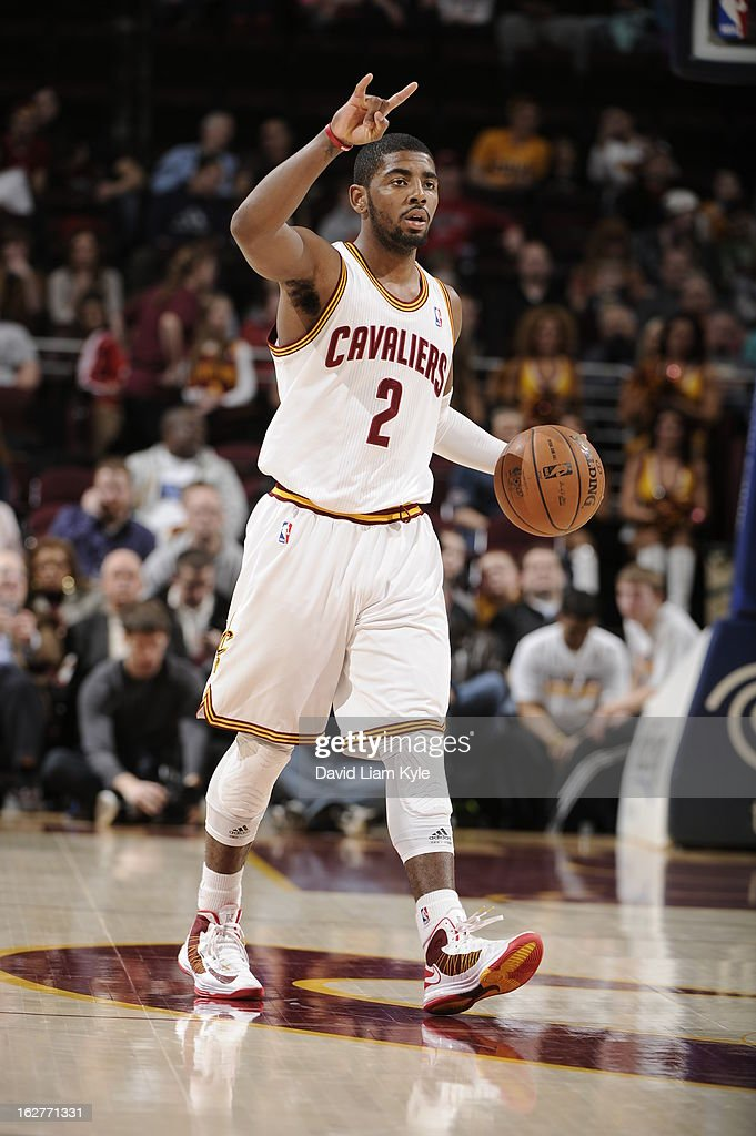 <a gi-track='captionPersonalityLinkClicked' href=/galleries/search?phrase=Kyrie+Irving&family=editorial&specificpeople=6893971 ng-click='$event.stopPropagation()'>Kyrie Irving</a> #2 of the Cleveland Cavaliers brings the ball up court against the Golden State Warriors at The Quicken Loans Arena on January 29, 2013 in Cleveland, Ohio.