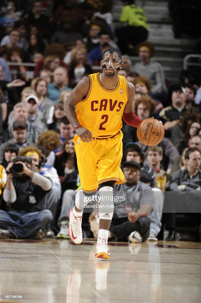 <a gi-track='captionPersonalityLinkClicked' href=/galleries/search?phrase=Kyrie+Irving&family=editorial&specificpeople=6893971 ng-click='$event.stopPropagation()'>Kyrie Irving</a> #2 of the Cleveland Cavaliers brings the ball up court against the Atlanta Hawks at The Quicken Loans Arena on December 28, 2012 in Cleveland, Ohio.