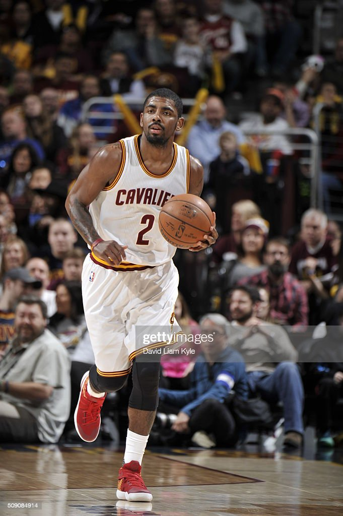 <a gi-track='captionPersonalityLinkClicked' href=/galleries/search?phrase=Kyrie+Irving&family=editorial&specificpeople=6893971 ng-click='$event.stopPropagation()'>Kyrie Irving</a> #2 of the Cleveland Cavaliers brings the ball up court against the Sacramento Kings on February 8, 2016 at Quicken Loans Arena in Cleveland, Ohio.