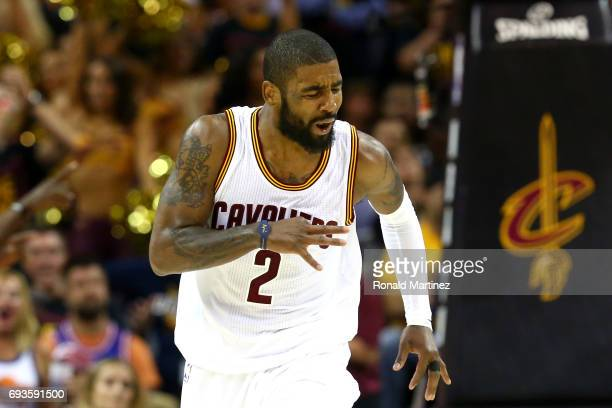 Kyrie Irving of the Cleveland Cavaliers celebrates after a play in the second quarter against the Golden State Warriors in Game 3 of the 2017 NBA...