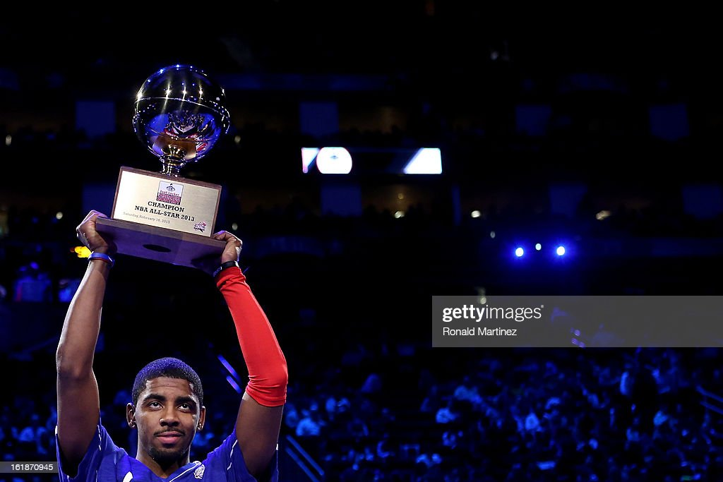 Kyrie Irving of the Cleveland Cavaliers celebrates after winning the Foot Locker Three-Point Contest part of 2013 NBA All-Star Weekend at the Toyota Center on February 16, 2013 in Houston, Texas.