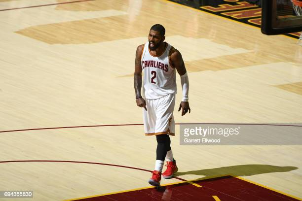 Kyrie Irving of the Cleveland Cavaliers celebrates during the game against the Golden State Warriors in Game Four of the 2017 NBA Finals on June 9...