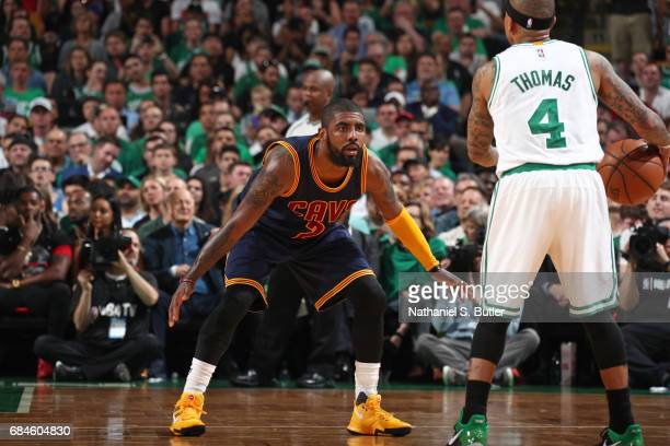 Kyrie Irving of the Cleveland Cavaliers defends against Isaiah Thomas of the Boston Celtics in Game One of the Eastern Conference Finals during the...