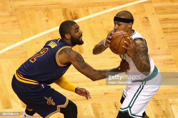 Kyrie Irving of the Cleveland Cavaliers defends Isaiah Thomas of the Boston Celtics in the first half during Game One of the 2017 NBA Eastern...