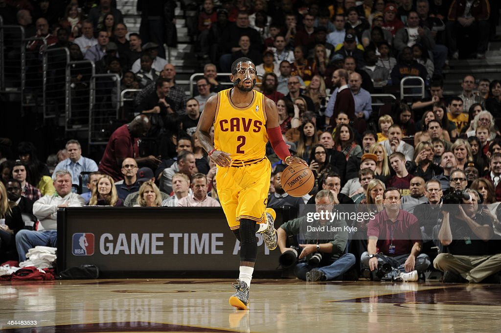 <a gi-track='captionPersonalityLinkClicked' href=/galleries/search?phrase=Kyrie+Irving&family=editorial&specificpeople=6893971 ng-click='$event.stopPropagation()'>Kyrie Irving</a> #2 of the Cleveland Cavaliers dribbles the ball against the Miami Heat at The Quicken Loans Arena on November 27, 2013 in Cleveland, Ohio.