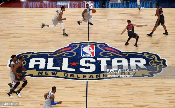 Kyrie Irving of the Cleveland Cavaliers dribbles the ball in the first half of the 2017 NBA AllStar Game at Smoothie King Center on February 19 2017...