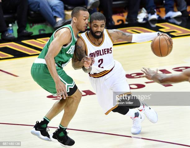 Kyrie Irving of the Cleveland Cavaliers drives against Avery Bradley of the Boston Celtics in the first quarter during Game Four of the 2017 NBA...