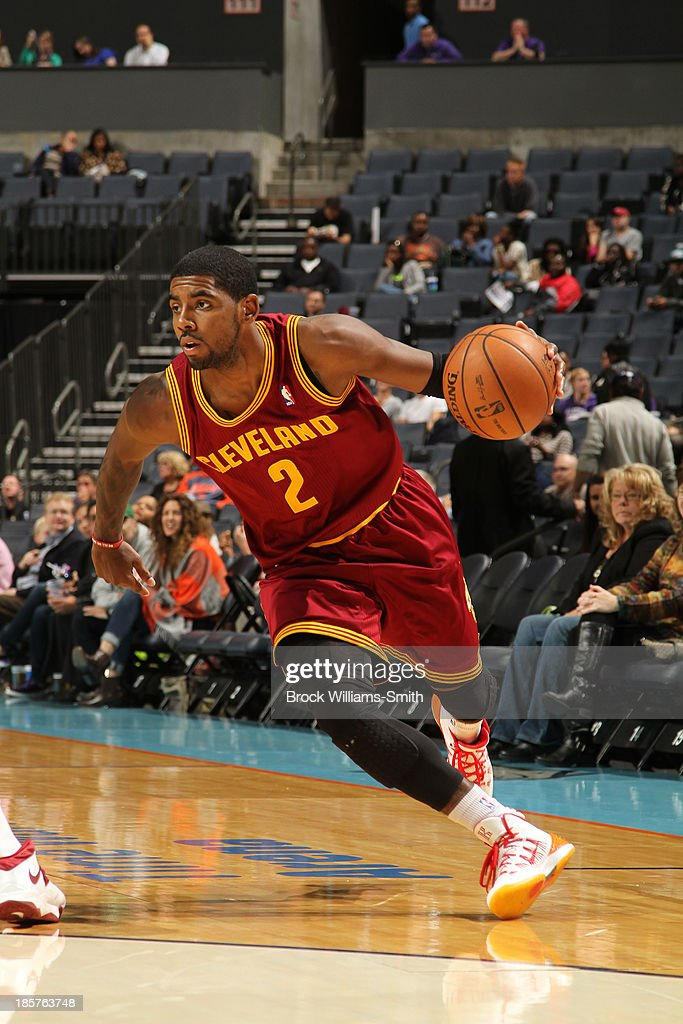 <a gi-track='captionPersonalityLinkClicked' href=/galleries/search?phrase=Kyrie+Irving&family=editorial&specificpeople=6893971 ng-click='$event.stopPropagation()'>Kyrie Irving</a> #2 of the Cleveland Cavaliers drives against the Charlotte Bobcats during the game at the Time Warner Cable Arena on October 24, 2013 in Charlotte, North Carolina.