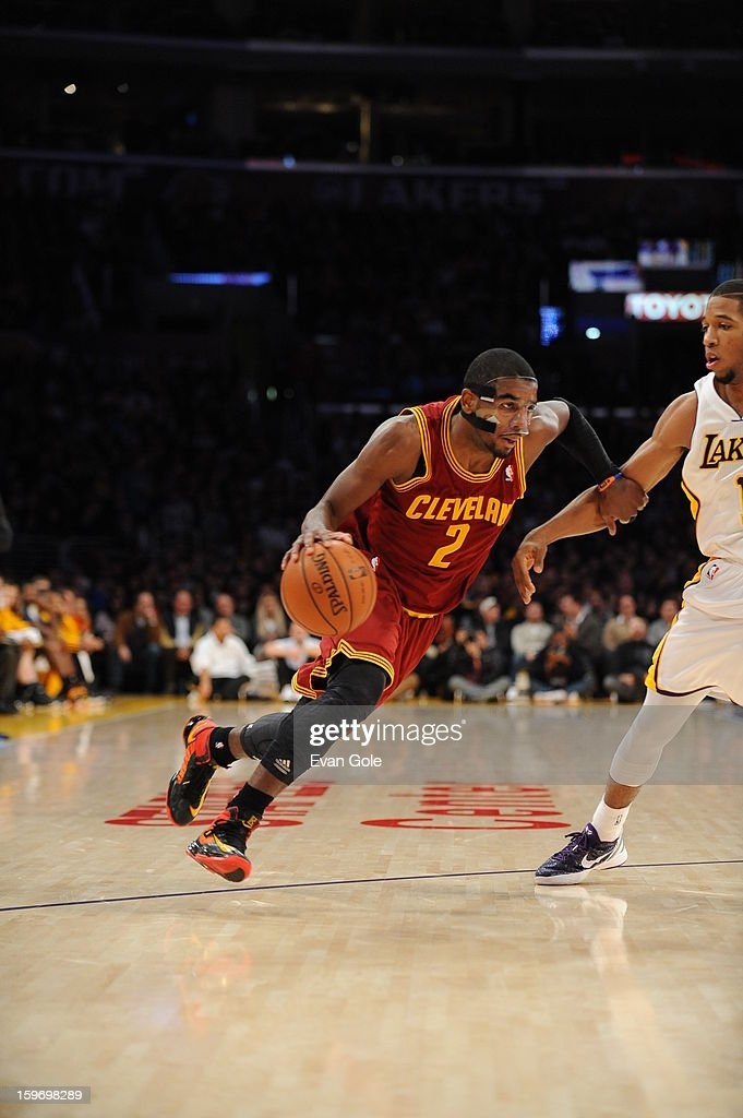 Kyrie Irving #2 of the Cleveland Cavaliers drives to the basket against the Los Angeles Lakers at Staples Center on January 13, 2013 in Los Angeles, California.