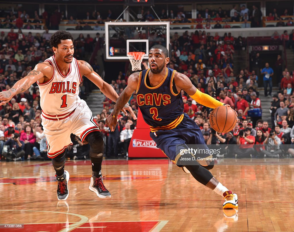 Kyrie Irving #2 of the Cleveland Cavaliers drives to the basket against the Chicago Bulls at the United Center During Game Six of the Eastern Conference Semifinals during the 2015 NBA Playoffs on May 14, 2015 in Chicago,Illinois
