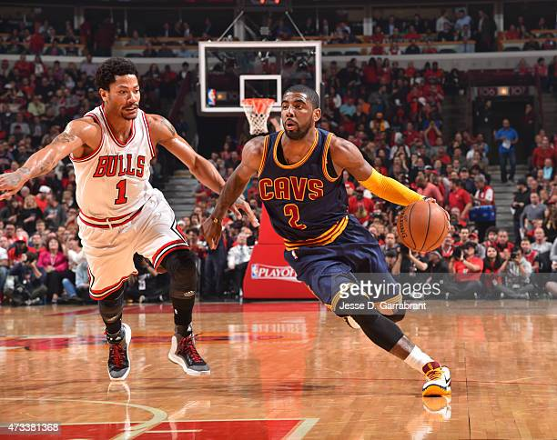 Kyrie Irving of the Cleveland Cavaliers drives to the basket against the Chicago Bulls at the United Center During Game Six of the Eastern Conference...