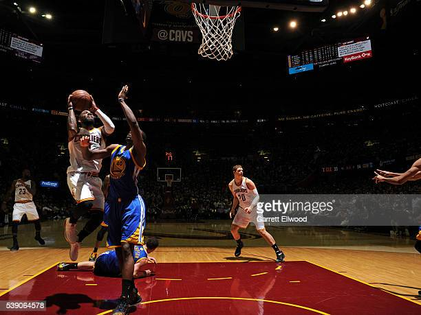 Kyrie Irving of the Cleveland Cavaliers drives to the basket against the Golden State Warriors during the 2016 NBA Finals Game Three on June 8 2016...