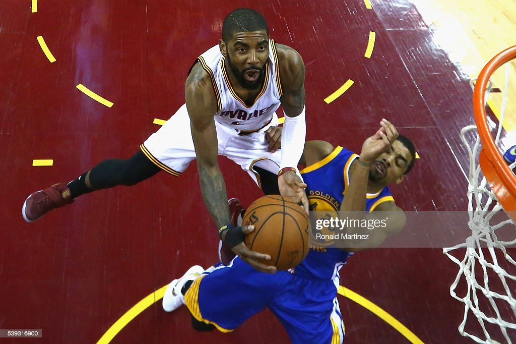 <a gi-track='captionPersonalityLinkClicked' href=/galleries/search?phrase=Kyrie+Irving&family=editorial&specificpeople=6893971 ng-click='$event.stopPropagation()'>Kyrie Irving</a> #2 of the Cleveland Cavaliers drives to the basket against <a gi-track='captionPersonalityLinkClicked' href=/galleries/search?phrase=James+Michael+McAdoo&family=editorial&specificpeople=7908952 ng-click='$event.stopPropagation()'>James Michael McAdoo</a> #20 of the Golden State Warriors during the second half in Game 4 of the 2016 NBA Finals at Quicken Loans Arena on June 10, 2016 in Cleveland, Ohio.
