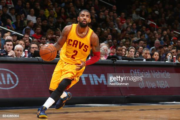 Kyrie Irving of the Cleveland Cavaliers drives to the basket against the Washington Wizards during the game on February 6 2017 at Verizon Center in...