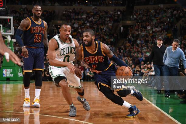 Kyrie Irving of the Cleveland Cavaliers drives to the basket against the Boston Celtics on March 1 2017 at the TD Garden in Boston Massachusetts NOTE...