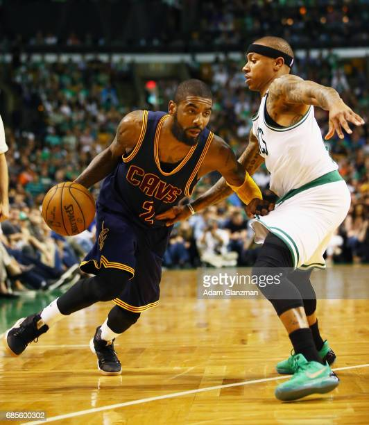 Kyrie Irving of the Cleveland Cavaliers drives to the basket against Isaiah Thomas of the Boston Celtics in the second half during Game Two of the...