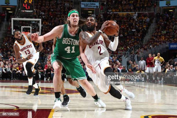 Kyrie Irving of the Cleveland Cavaliers drives to the basket against the Boston Celtics in Game Four of the Eastern Conference Finals during the 2017...