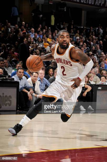 Kyrie Irving of the Cleveland Cavaliers drives to the basket during a game against the Miami Heat on March 6 2017 at Quicken Loans Arena in Cleveland...