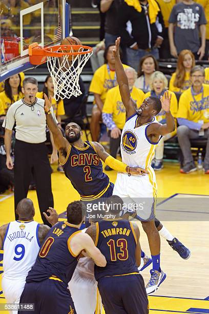 Kyrie Irving of the Cleveland Cavaliers drives to the basket during Game Two of the 2016 NBA Finals against the Golden State Warriors on June 5 2016...
